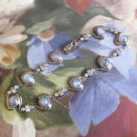 Vintage Art Deco 1930's Rare Gray Star Sapphire & Diamond Bracelet 10k White Gold