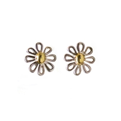 Estate Rare Tiffany Co Daisy 18k Ss Stud Earrings