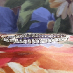 Vintage Estate 8ct Diamond Tennis Line Bracelet 14k White Gold