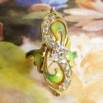 Antique Diamond Ring Art Nouveau 1900's Green Enamel Peruzzi Cushion Cut Old Mine Cut Diamond 18k Yellow Gold Ring