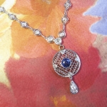Antique Necklace Edwardian Vintage 1920's Old European Cut Diamond Lab Sapphire Necklace 18k White Gold Sterling Silver