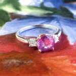 Timeless 2.26ct t.w. Cushion Pink Sapphire & Diamond Three Stone Ring 14k