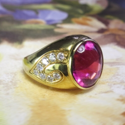 Vintage Ring Estate Kurt Wayne Pink Tourmaline & Diamond Cocktail Birthstone 18k Yellow Gold Ring