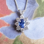 Vintage Sapphire Pendant Estate Natural Cornflower Blue Sapphire Diamond Pendant Necklace 18k White Gold
