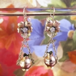 Antique Victorian Pansy and Vase Old Mine Cut Diamond Earrings 10k Rose Gold