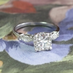 Vintage 1940's Engagement Ring Old European Cut Marquise Cut Diamond Anniversary Platinum Wedding Ring