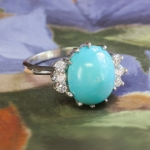 Vintage Turquoise Diamond Ring Circa 1950's Robin's Egg Blue Turquoise & Diamond Ring Platinum