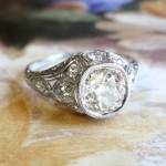 Art Deco Vintage 1930's 2.14ct t.w. Bezel Set Old European Cut Diamond Engagement Anniversary Wedding Ring Platinum