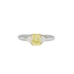 Estate 1.49ct t.w. Fancy Lt. Yellow Canary Diamond & Trillion Cut Diamond Three Stone Ring 18k/Platinum