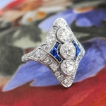 Vintage Diamond Sapphire Ring Art Deco 1930's Old European Cut Diamond Blue Sapphire Filigree Cocktail Birthstone Anniversary Ring Platinum