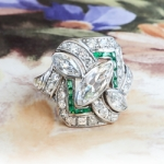 Marquise Diamond Ring Art Deco 1930's Diamond Emerald Cocktail Anniversary Engagement Platinum Ring