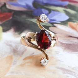Antique Art Nouveau 1900's Garnet & Old Mine Cut Diamond Birthstone Cocktail Bypass Ring 18k Gold