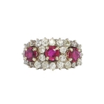 Vintage Edwardian 3.14ct t.w. Natural Ruby & Old European Cut Diamond Anniversary Ring 14k Platinum