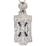 Art Deco 1.33ct t.w. 1930's Old European Cut Diamond Sapphire Pendant Pin 14k