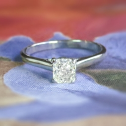 Estate Jeff Cooper Cushion Cut Diamond Solitaire Engagement Wedding Anniversary Ring 14k White Gold