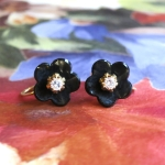 Antique Victorian 1890's Old Mine Cut Diamond Carved Black Genuine Jet 14k Screw-Back Earrings