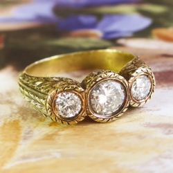 Art Deco Vintage 1930's Diamond Three Stone Engagement Wedding Anniversary Ring 18k Yellow Gold