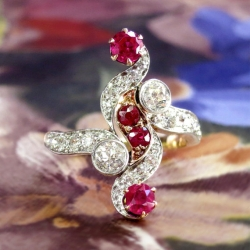 Edwardian Antique 1.83ct t.w. Ruby & Old European Cut Diamond Anniversary Cocktail Ring 18k Platinum