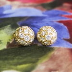 Estate Vintage 1ct t.w. Dome Ball Diamond Pave' Stud Earrings 18k