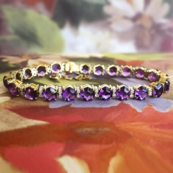 Estate Vintage 1990's 24.50ct t.w. Amethyst & Diamond Tennis Bracelet 18k Yellow Gold 7.25