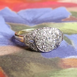 Art Deco Vintage 1930's Old European Cut Diamond Halo Engagement Cocktail Ring Two Tone 14k Gold
