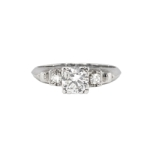 Vintage Retro 1940's .68ct t.w. Old Transitional Cut Diamond Engagement Ring Platinum