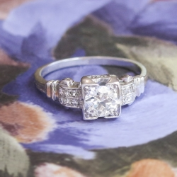 Vintage Art Deco 1930's Old European Cut Diamond Two Row Engagement Ring Platinum