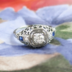 Vintage Belais Art Deco 1930's Old European Cut Diamond & Lab Sapphire Engagement Ring 18k White Gold