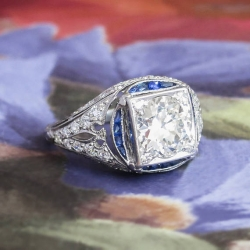 Vintage Art Deco 1930's 2.34ct t.w. Old European Cut Diamond & Sapphire Engagement Ring Platinum