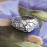 Vintage Art Deco 1930's Bezel Set Fleur De Lis Old European Cut Diamond Platinum Engagement Wedding Anniversary Ring