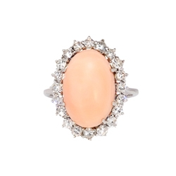 Vintage Retro 1950's 6.50ct t.w. Natural Coral & Old Single Cut Diamond Halo Ring 14k White Gold