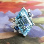 Vintage Estate 1980's Aquamarine Diamond Blue Sapphire Birthstone Cocktail Ring 18k Gold