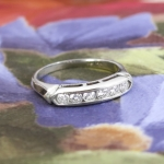 Art Deco 1930's .25ct t.w. Six Diamond Vintage Wedding Stacking Anniversary Band Ring 14k White Gold