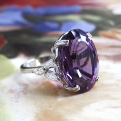 Vintage Ring 1970's Amethyst & Baguette Marquise Diamond Cocktail Anniversary Birthstone Ring 18k White Gold