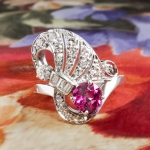 Vintage Pink Tourmaline Ring Circa 1940's Diamond Cocktail Birthstone Anniversary Ring Band Platinum