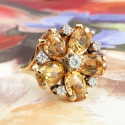 Vintage Ring Estate 1960's Topaz Diamond Flower Cocktail Birthstone Ring 14k Gold