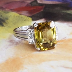 Vintage Estate 1980's Mikimoto 4.28ct t.w. Chrysoberyl Asscher Cut Diamond Cocktail Anniversary Birthstone Ring Platinum