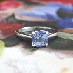 Estate Cushion Cut 1.22ct Tanzanite Solitaire Engagement Wedding Anniversary Stacking Ring Platinum