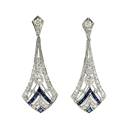 Estate 1.76ct t.w. Blue Sapphire & Diamond Art Deco Style Chandelier Wedding Earrings Platinum