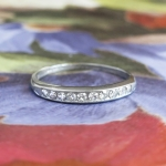 Art Deco 1930's Band Bristol .20ct t.w. Ten Diamond Vintage Wedding Stacking Anniversary Band Ring 18k White Gold