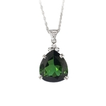 Vintage Estate 1960's H.Stern 11.08ct t.w. Green Tourmaline Diamond Pendant 18k 14k White Gold