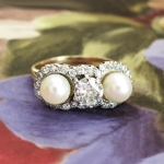 Antique Vintage Edwardian 1920's Old European Cut Diamond Pearl Three Stone Engagement Wedding Ring Platinum 14k Yellow Gold