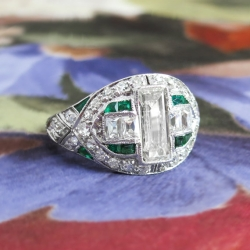 Edwardian Diamond Engagement Ring Circa 1920's Emerald Cut French Cut Diamond Emerald Anniversary Ring Platinum