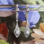 Antique Art Nouveau 1900's Filigree Old European Cut Rose Cut Diamond Earrings 18k Gold Platinum