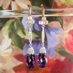Antique Vintage Edwardian 1920's Old Mine Cut Diamond & Purple Amethyst Chandelier Drop Earrings 18k White Yellow Gold