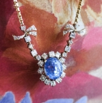 Vintage Estate 1950's Cornflower Blue Sapphire Asscher Diamond Halo 18k Yellow Gold Anniversary Wedding Birthstone Pendant Necklace