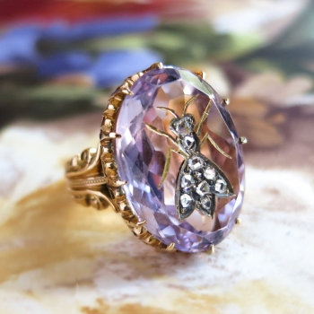 Antique Victorian 1890 S Rose De France Amethyst Rose Cut