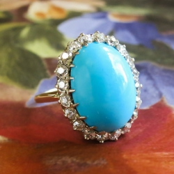 Antique Edwardian Blue Turquoise & Old European Cut Diamond Halo Cocktail Ring 14k