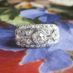 Vintage Art Deco 1930's 1.64ct t.w. Old European Cut Diamond Filigree Anniversary Engagement Ring Platinum