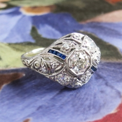 Art Deco Vintage 1930's Old European Cut Diamond Sapphire Filigree Engagement Wedding Anniversary Ring Platinum